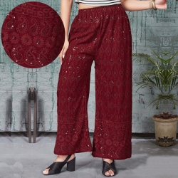 Maroon Embroidered Sequence Work Straight Palazzo