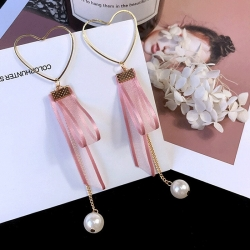 Heart-Shaped Cute Pink Lace Pearl Long Earrings
