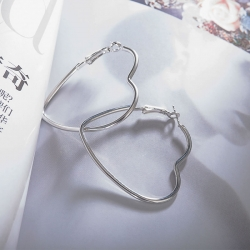 Heart Shape  Silver Plated Hoop Earrings