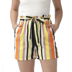 Multi-Color Striped Print Shorts