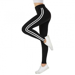 Stretchable Side Stripe Cotton Rib Sports Fitness Jeggings