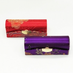 Flower Design Embroidered Lipstick Case With Mirror 2 Pcs