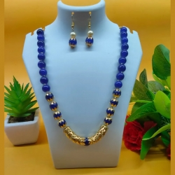 Pearl Brass Antique Necklace & Earrings Set