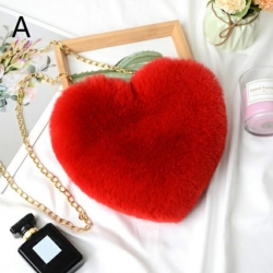 Heart Shaped Faux Fur Crossbody Chain Bag