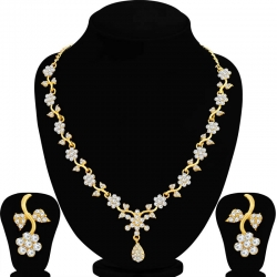 Gold Plated Floral Design Necklace Set