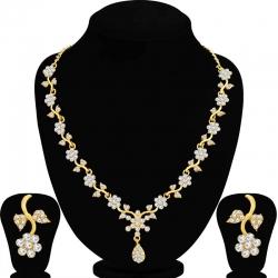 Gold Plated Floral Design Necklace Set