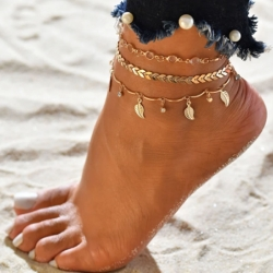 Stylish Leaf Shaped Beach Foot Chain 3 Pc Anklets Sets