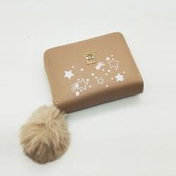 Star Print Mini Purse PU Leather Zipper Wallet