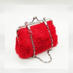 Fashion Cute Rabbit Fur Clutch Wallet With Keychain 4.5 inch