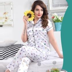 Butterfly Printed Top & Pajama Satin Night Suit Sleepwear