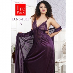 Deep V-Neck Satin Long Wrap Gown Nighty