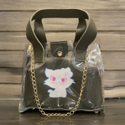 Cat Print Transparent Handbags & Shoulder Sling Bag