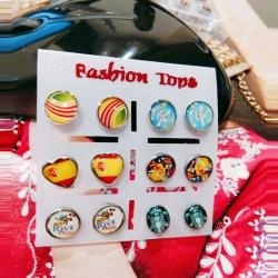Littledesire Funny Glass Stud Earrings