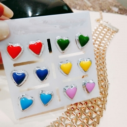 Heart Shape Stud Earrings 6 pcs Set