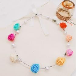 Pearl Princess Flowers Tiara Crown For Girls