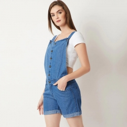 Miss Chase Button-Down Short Denim Dungaree