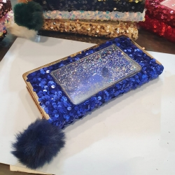 Sequins Puff Ball Party Wear Zipper Clutch Wallet