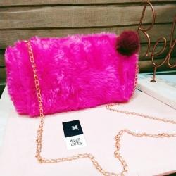 Soft Fluffy Puff Ball Sling Bag for Girls