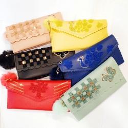 Sequins Zipper Puff Ball PU Leather Clutch Wallet Pack of 6