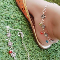 Silver Plated Pearl Alloy Designer Payal
