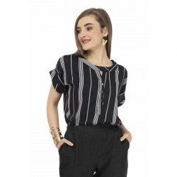 Fashion Rayon Striped Curved Hem Top