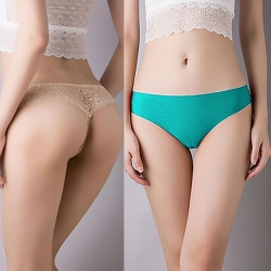 T-Back Floral Embroidery G-String Thong Panties (2 Pcs)