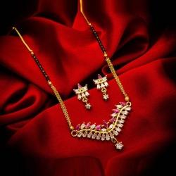 American Diamond Pink & White Stone Studded Mangalsutra Earrings Set
