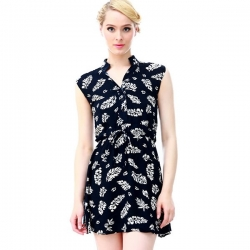 European Leaf Chiffon Casual Dress