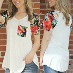 Floral Sleeve English Style T-Shirt