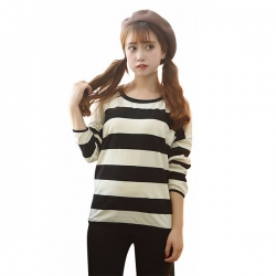 Striped Summer Autumn Full Sleeve Lace Patchwork T Shirt