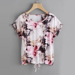 Florals Dolman Sleeve Drawstring TShirt