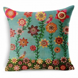 Floral Animal Tree of Life Bird Jute Cushion Covers