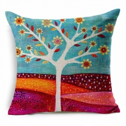 Flower Tree Colorful Jute Cushion Covers