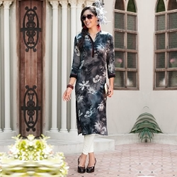 Printed Rayon Kurta with Mandarin Collar