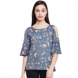 Bell Sleeve Floral Printed Cut Shoulder Top