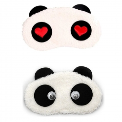 Red Heart And Dreamy Cute Panda Sleeping Eye Mask (Pack of 2)