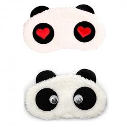Red Heart And Dreamy Cute Panda Sleeping Eye Mask (Pack of 2)