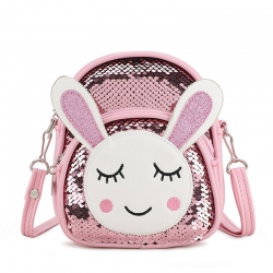Littledesire Travel Sequins Glitter Rabbit Shoulder Backpack - 7 inch