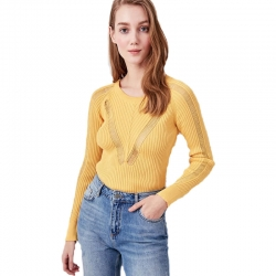 Littledesire Knitted Round-Neck Stylish Yellow Sweater
