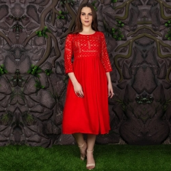 Littledesire Round Neck Gold Foil Printed Red Kurta