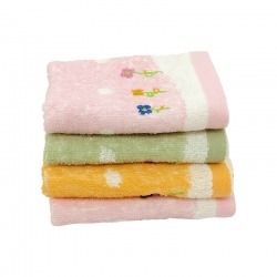 4 pcs Soft Cotton Embroidered Flower Face Towel Handkerchief