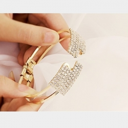 Littledesire Hollow Out Cuff Rhinestone Bracelet Bangle