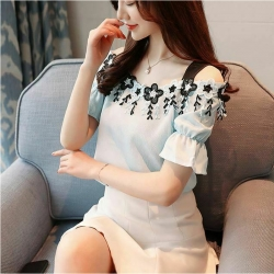 Littledesire Latest Fashion Slash Neck Short Sleeve Top