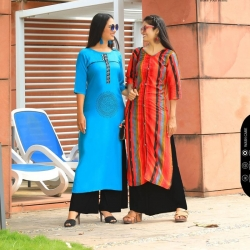 Littledesire Printed Blue & Multicolored Straight Kurta Pack of 2