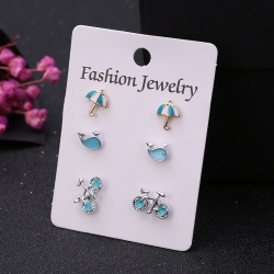 Fashion Umbrella Bicycle Geometry Stud Earrings 3 pcs Set
