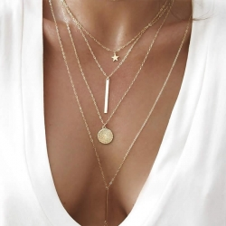 Fashion Star Round Chain Pendant Multilayer Long Necklace 4pcs