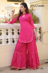 Designer Pink Kurta With Sharara