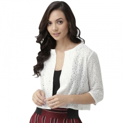 Stylish Half Sleeve Cotton White Shrug