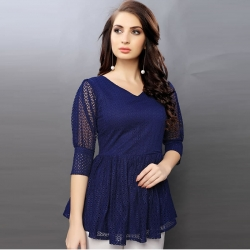 High Quality Flared Lace Navy Blue Beautiful Top