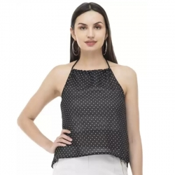 Crepe Polka Dot Sleeveless Top